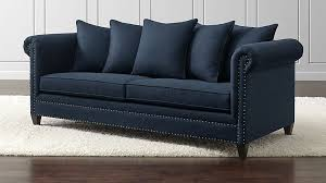 Crate And Barrel Sofa Cushion Replacement Durham Navy Blue Couch With Nailheads Crate And Barrel