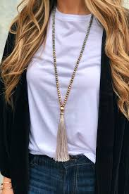 beaded tassel necklace images Emery beaded tassel necklace mint groovy 39 s png