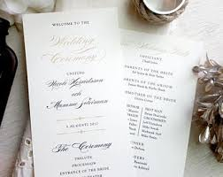 printed wedding programs wedding programs printed etsy