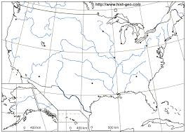 Map Of Usa And Cities by Blank Map Of The Usa With Us Rivers Main Cities Parallels