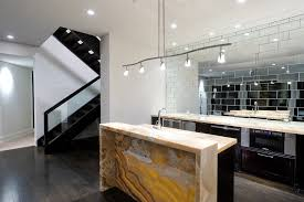 mirrored tile backsplash kitchen contemporary with appliances ge