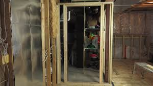 How To Frame A Door Opening by How To Frame In A Basement Door Youtube