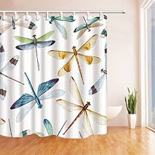 Dragonfly Shower Curtains Kotom Watercolor Dragonfly Shower Curtains In Bath