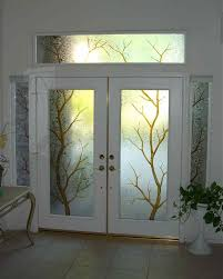 Embellish Home Decor by Breathtaking Etched Glass Window With Tropical Scheme In Frosted