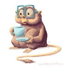 illustration art cute coffee glasses sketch monkey doodle digital