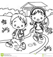 young students coloring page stock illustration image 86598989