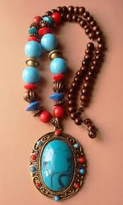 turquoise stone necklace set images Buy beautiful fancy metal necklace set with blue stone jpg