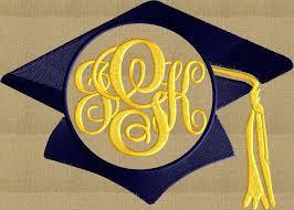 monogram graduation cap graduation cap hat 2016 frame monogram design font not included