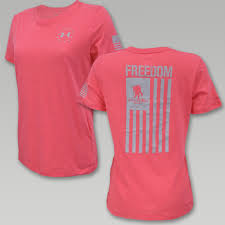 Warriors In Pink Clothing Under Armour Womens Wwp Freedom Flag T Shirt Pink Navy Gear