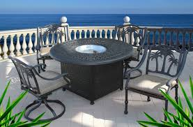 Patio Dining Sets With Fire Pits by Palm Tree 5pc Outdoor Dining Set With 52