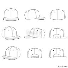 snapback cap technical drawing flat sketches template