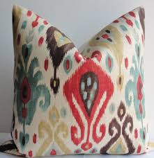 Designer Throw Pillows For Sofa by Red Gold Teal Ikat Decorative Pillow Cover Designer Linen