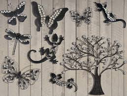 dark metal garden hanging wall art large tree with crystal glass