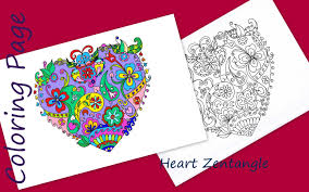 zentangle inspired heart coloring page coloring book print
