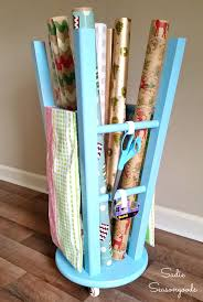turquoise wrapping paper diy gift wrap station using a repurposed wooden bar stool