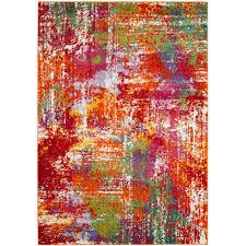 Modern Orange Rugs by Safavieh Watercolor Orange Green 8 Ft X 10 Ft Area Rug Wtc695d 8