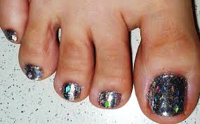 diamond glitter and silver toe nail design youtube
