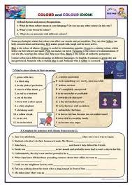 10 free esl colour idioms worksheets