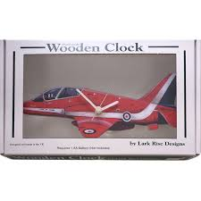 Wooden Wall Clock Lark Designs Red Arrows Side View Cut Out Wooden Wall Clock