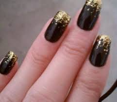 gold nails with black tips how you can do it at home pictures