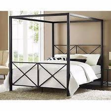 Black Poster Bed Metal Canopy Bed Size Queen Black Modern 4 Four Poster Frame