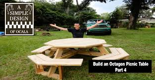 Wooden Hexagon Picnic Table Plans by Build An Octagon Picnic Table Part 4 Youtube
