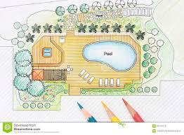 landscape architect designs pool for luxury villa stock photo