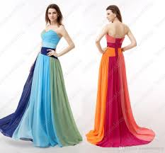 colorful dress in stock a line colorful chiffon evening dresses with crystals