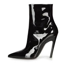 big w s boots cat stiletto boots patent leather pointy toe booties for big