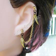 earrings with chain ear cartilage gold and black wing cartilage chain earring by merigreenleaf on