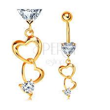 piercing buric aur piercing pentru buric din aur 585 contururi de inimi și inimi