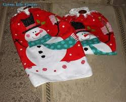 Snowman Chair Covers Snowman Kitchen Hand Towels Crocheted Tops Of 100 Percent Cotton