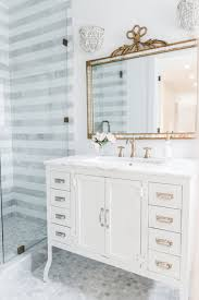 striped marble bathroom renovation reveal the leslie style