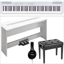 Yamaha Piano Bench Adjustable P 115 88 Key Digital Piano Studio Bundle Kit White