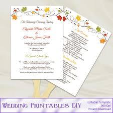 wedding program fan templates fall wedding fan programs templates diy fall weddings
