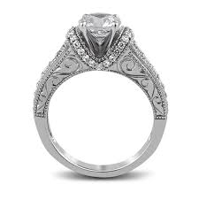 14k white gold fancy solitaire engagement ring