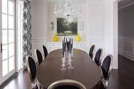 Black Round Back Dining Chairs With Black And White Damask - Damask dining room chairs
