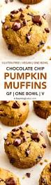 one bowl gluten free pumpkin chocolate chip muffins gf vegan