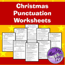 christmas punctuation worksheets commas full stops question