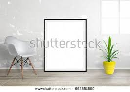 The Chair Is Against The Wall Royalty Free White Poster Frame Mock Up Leaning U2026 381056596 Stock