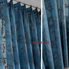 Peacock Blue Sheer Curtains Classic Jacquard Floral Pattern Peacock Blue Sheer
