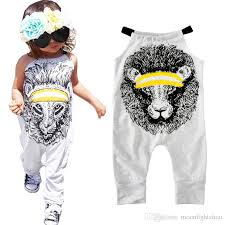 2017 rompers summer cartoon lion print boy jumpsuit for baby