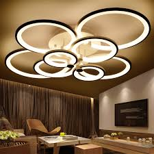 Lights Chandelier Rings White Finished Chandeliers Led Circle Modern Chandelier