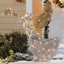 Brylane Home Christmas Decorations Pre Lit Beaded Glitter Angel Outdoor Christmas Lighted