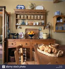 basket of croissants on table in a cottage kitchen dining room