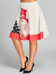 christmas skirt plus size high waisted snowman print christmas skirt in white 4xl