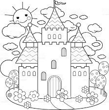 fairy tale castle and flowers coloring page stock vector art