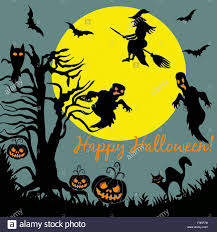 halloween tree flying witch ghost over moon night party card