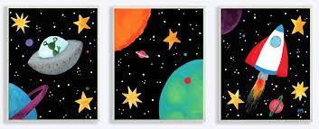 stupell industries the kids room outer space triptych 3 piece