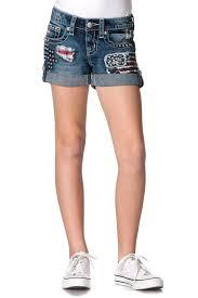 Americana Flags Miss Me Girls Americana Flag Patch Denim Shorts U2013 Cowboys U0026 Angels